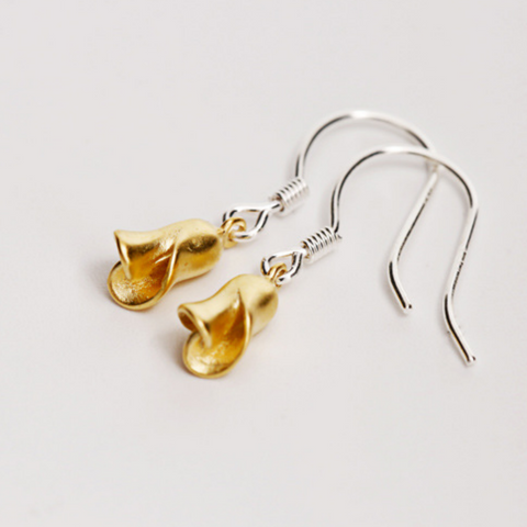 Golden Rose Earrings - 925 Sterling Silver - Owl J  - 1