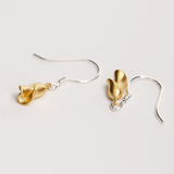 Golden Rose Earrings - 925 Sterling Silver - Owl J  - 4