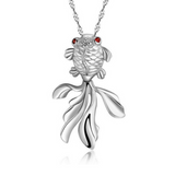 Goldfish Pendant Necklace - 925 Sterling Silver - Owl J  - 1