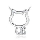 Lucky Cat Necklace - 925 Sterling Silver - Owl J  - 1