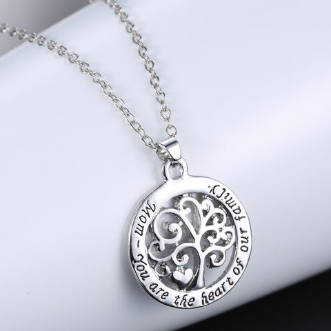 Mom Heart Family Tree Necklace - Owl J  - 1