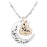 I Love You To The Moon And Back Mom Necklace - Owl J  - 1