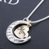I Love You To The Moon And Back Mom Necklace - Owl J  - 4