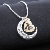 I Love You To The Moon And Back Mom Necklace - Owl J  - 3