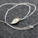 Morning Dew On Leaf Necklace - 925 Sterling Silver - Owl J  - 2
