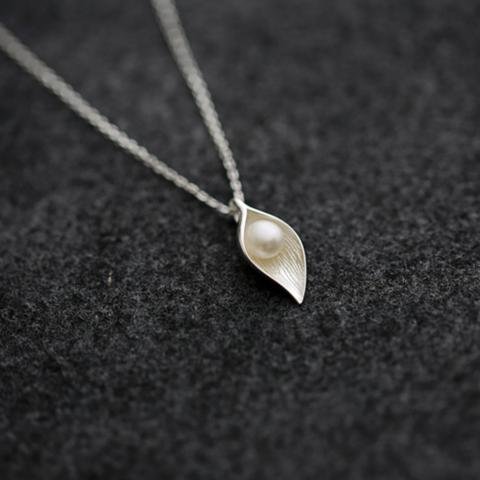 Morning Dew On Leaf Necklace - 925 Sterling Silver - Owl J  - 1