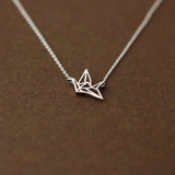 Origami Crane Necklace  - 925 Sterling Silver - Owl J  - 3