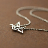 Origami Crane Necklace  - 925 Sterling Silver - Owl J  - 2