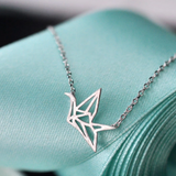Origami Crane Necklace  - 925 Sterling Silver - Owl J  - 1