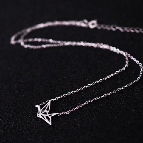 Origami Crane Necklace - 925 Sterling Silver – Owl J - photo#29