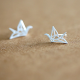 Origami Crane Stud Earrings  - 925 Sterling Silver - Owl J  - 1