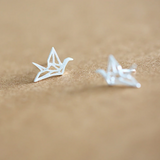 Origami Crane Stud Earrings  - 925 Sterling Silver - Owl J  - 2