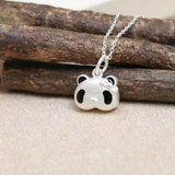 Cute 3D Panda Pendant Necklace - 925 Sterling Silver - Owl J  - 2