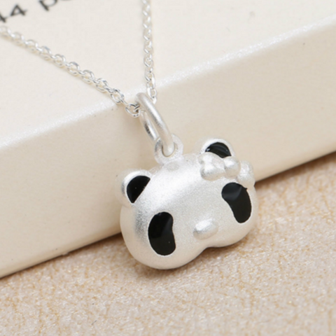 Cute 3D Panda Pendant Necklace - 925 Sterling Silver - Owl J  - 1