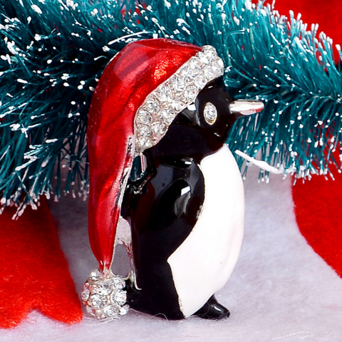 Christmas Penguin Brooch Pin - Owl J  - 1