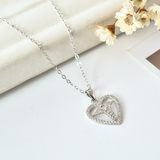 Heart Caduceus Necklace - 925 Sterling Silver - Owl J  - 8