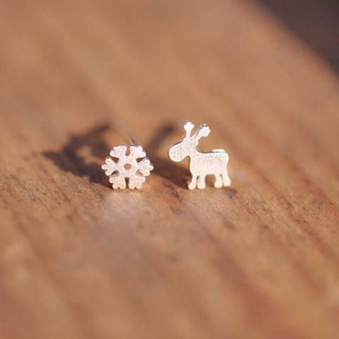 Christmas Reindeeer Snowflake Earrings  - 925 Sterling Silver - Owl J  - 1