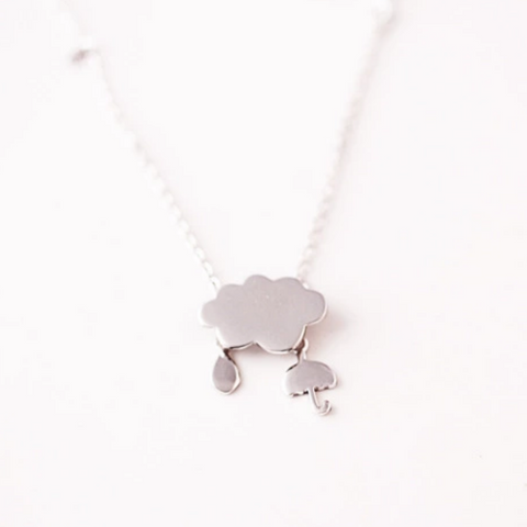 Rainy Day Weather Necklace - 925 Sterling Silver - Owl J  - 1
