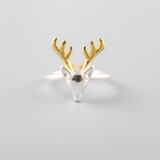 Silver Deer Ring -  925 Sterling Silver - Owl J  - 2
