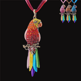 Retro Rhinestone Parrot Necklace - Owl J  - 8