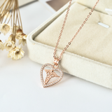 Heart Caduceus Necklace - 925 Sterling Silver - Owl J  - 7