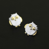 Happy Owl Stud Earrings - 925 Sterling Silver - Owl J  - 2