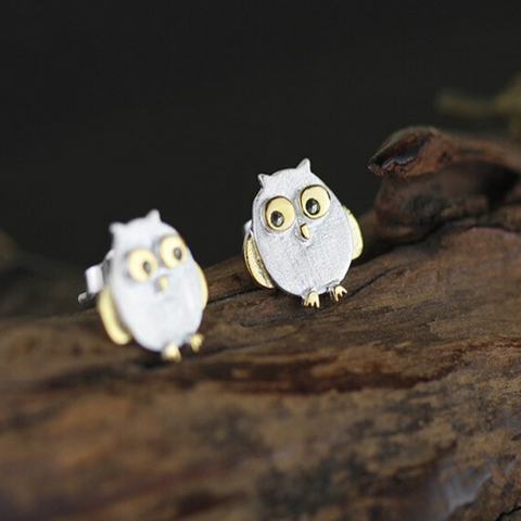 Happy Owl Stud Earrings - 925 Sterling Silver - Owl J  - 1