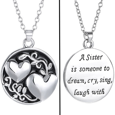 Sisterhood Double Heart Necklace - Owl J  - 1