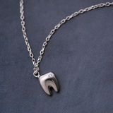 Lovely Tooth Necklace - 925 Sterling Silver - Owl J  - 2
