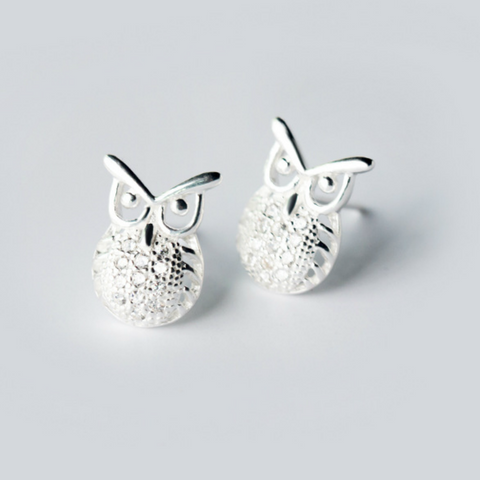 Wise Owl Stud Earrings - 925 Sterling Silver - Owl J  - 1