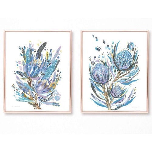 Blue Botanicals 2 pk, by Kylie Ferriday. Australian Art Prints. Green Door Decor.  www.greendoordecor.com.au