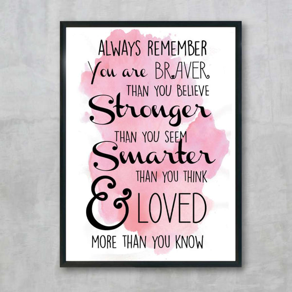 Always Remember - Pink, by Skart & Savvy Designs. Australian Art Prints. Green Door Decor.  www.greendoordecor.com.au