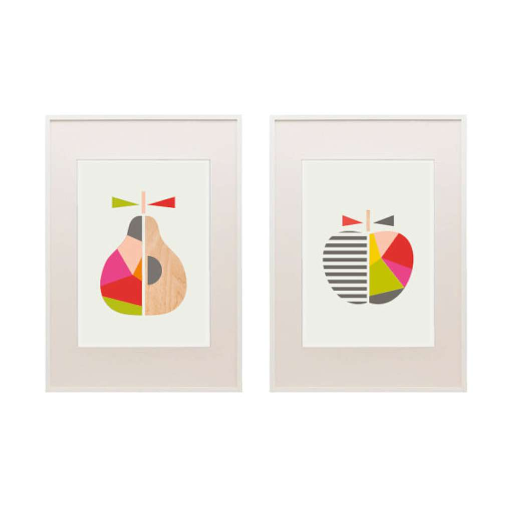 Geo Apple & Pear Set - Pink & Red
