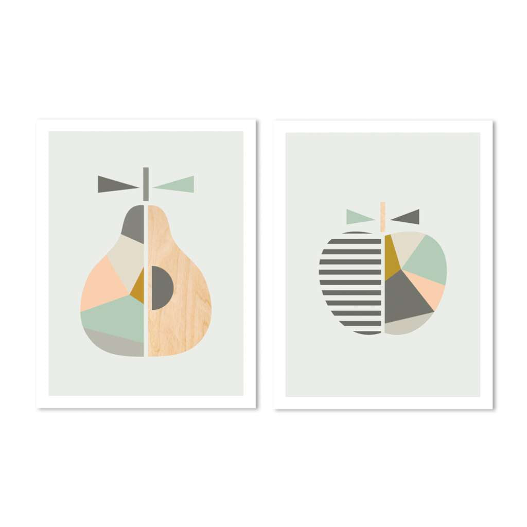 Geo Apple & Pear Set - Mint, Grey & Peach