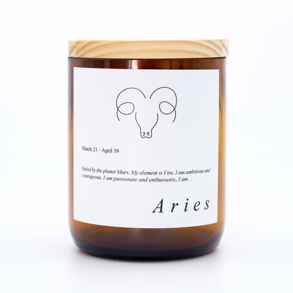 Aries Zodiac Candle. Australian Art Prints and Homewares. Green Door Decor. www.greendoordecor.com.au