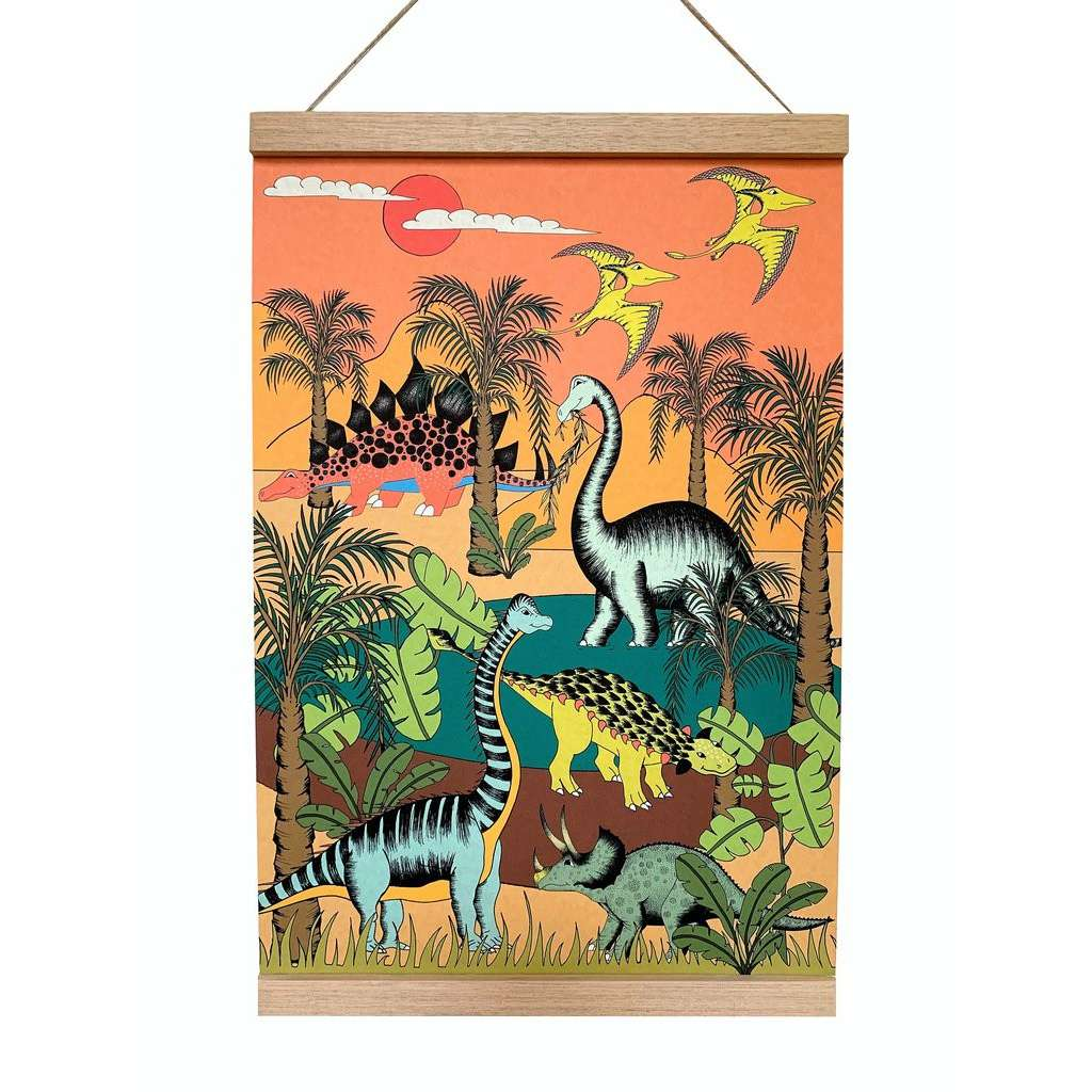 Art Hanger 'Dinosaur Oasis' by Dino Raw. Australian Art Prints. Green Door Decor. www.greendoordecor.com.au