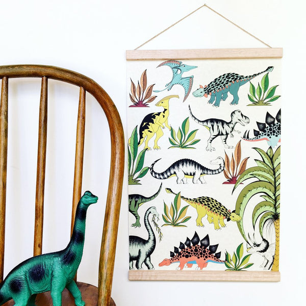 Art Hanger 'In The Jungle Wandering Dinosaurs' by Dino Raw. Australian Art Prints. Green Door Decor. www.greendoordecor.com.au