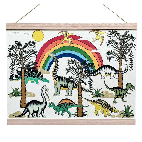 Art Hanger 'Jungle Rainbow Dinosaur Dreaming' by Dino Raw. Australian Art Prints. Green Door Decor. www.greendoordecor.com.au