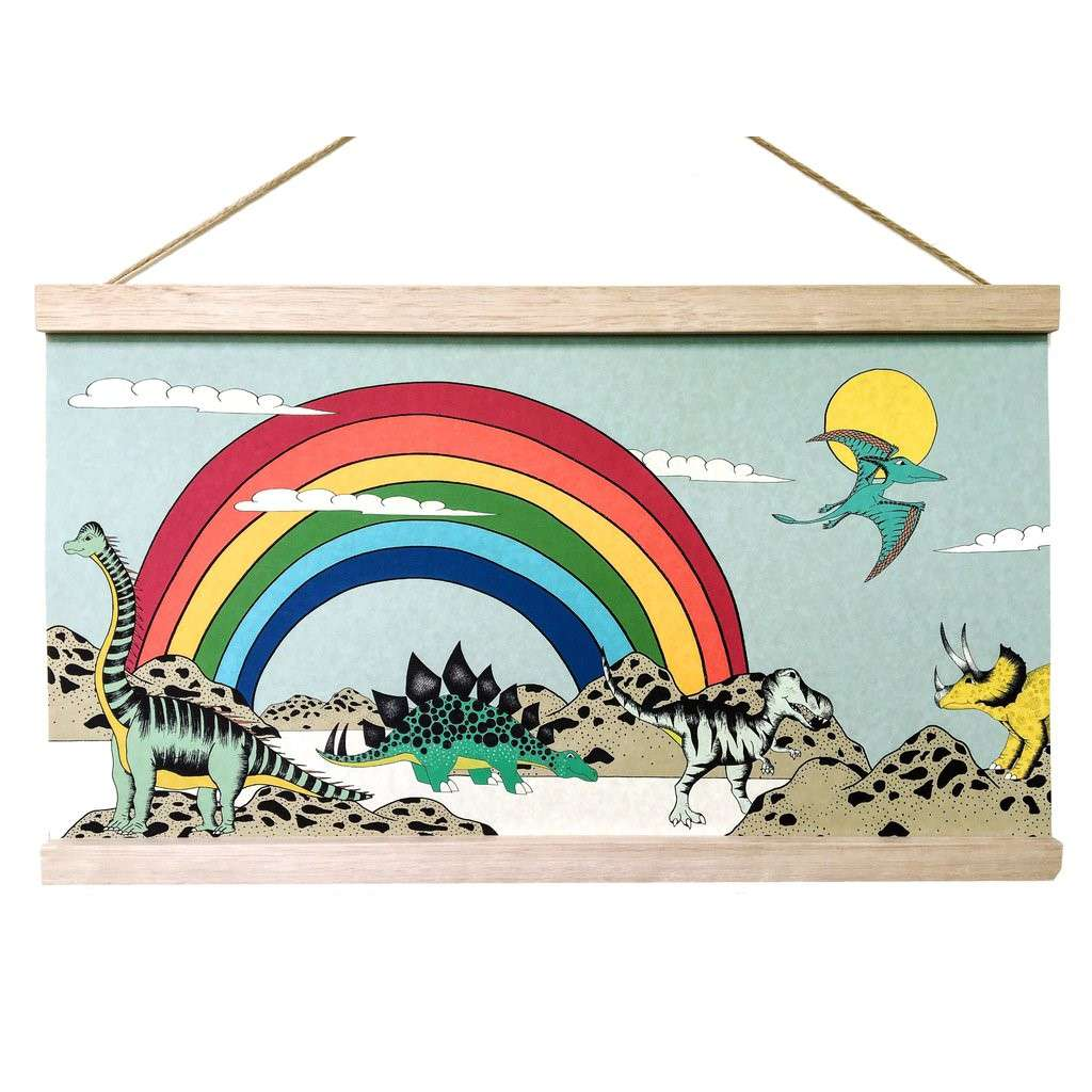Art Hanger 'Rainbow Dinosaur Dreaming (45x26cm)' by Dino Raw. Australian Art Prints. Green Door Decor. www.greendoordecor.com.au