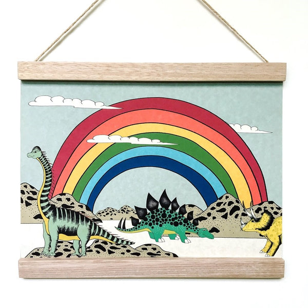 Art Hanger 'Rainbow Dinosaur Dreaming (A3)' by Dino Raw. Australian Art Prints. Green Door Decor. www.greendoordecor.com.au
