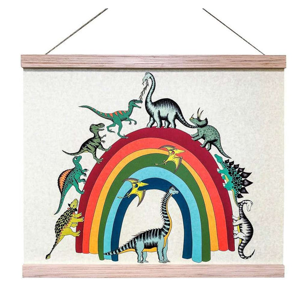Art Hanger 'Rainbowsaurus' by Dino Raw. Australian Art Prints. Green Door Decor. www.greendoordecor.com.au