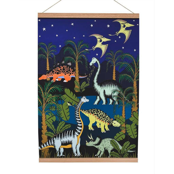 Art Hanger 'Dinosaur Oasis-Starry Nights' by Dino Raw. Australian Art Prints. Green Door Decor. www.greendoordecor.com.au