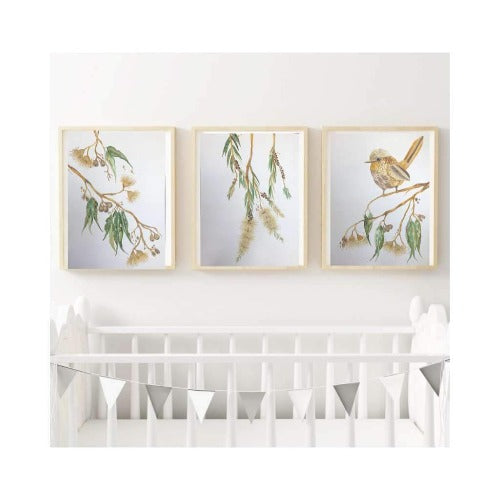 Aussie Bush Collection - Olive set of 3 prints 1, by Kylie Ferriday. Australian Art Prints. Green Door Decor.  www.greendoordecor.com.au