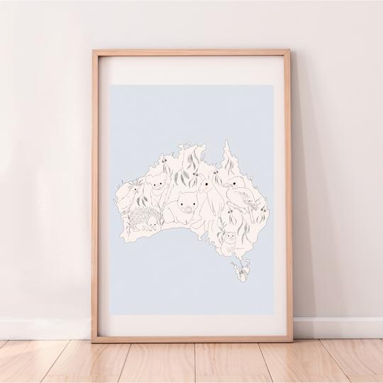 Australia - Soft Blue print, by My Hidden Forest. Australian Art Prints. Green Door Decor.  www.greendoordecor.com.au
