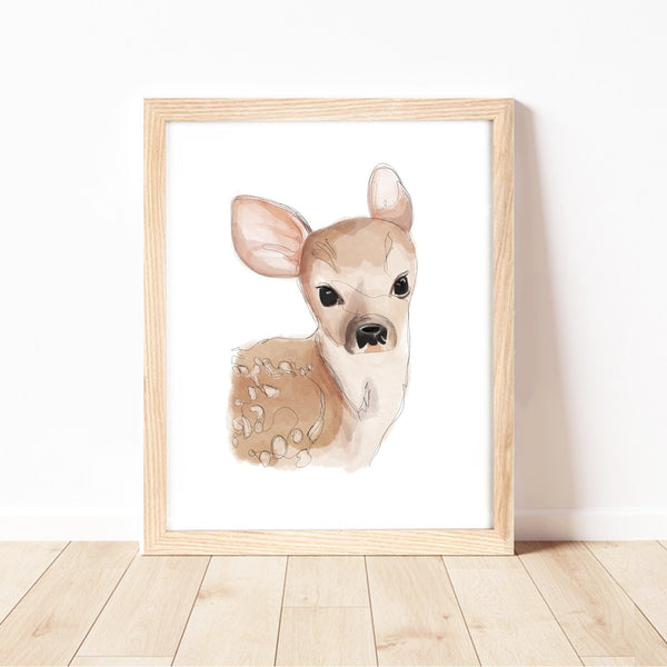 Baby Deer Print by Cassie Zaccardo. Australian Art Prints and Homewares. Green Door Decor. www.greendoordecor.com.au