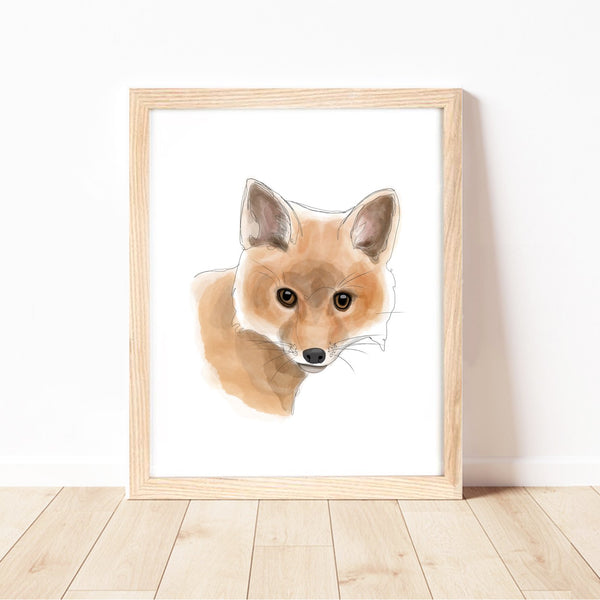 Baby Fox Print by Cassie Zaccardo. Australian Art Prints and Homewares. Green Door Decor. www.greendoordecor.com.au