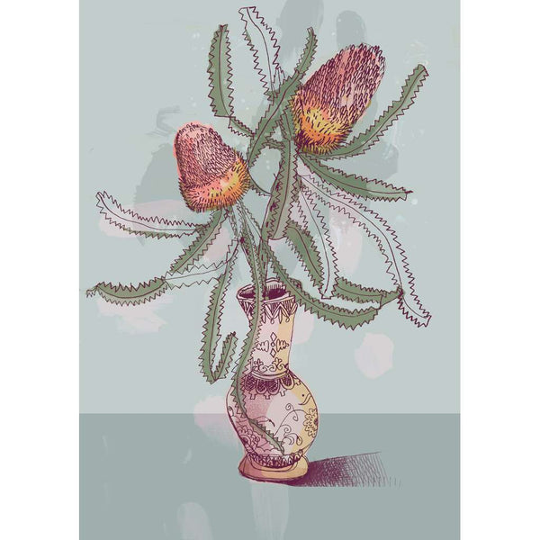 Banksias in a Vase - Blue - unframed - by Paula Mills Art. Australian Art Prints. Green Door Decor. www.greendoordecor.com.au