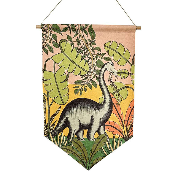 Banner 'Jungle Adventures - Brontosaurus' by Dino Raw. Australian Art Prints. Green Door Decor. www.greendoordecor.com.au