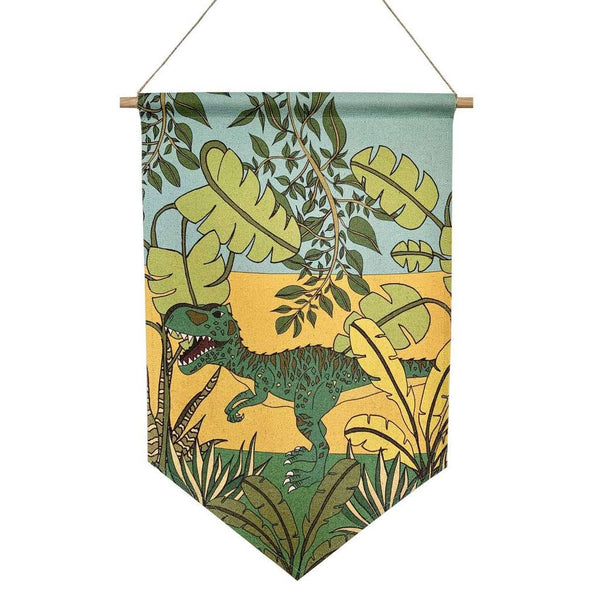 Dinosaur Banner - 'Jungle Adventures - Gigantosaurus' by Dino Raw. Australian Art Prints. Green Door Decor. www.greendoordecor.com.au