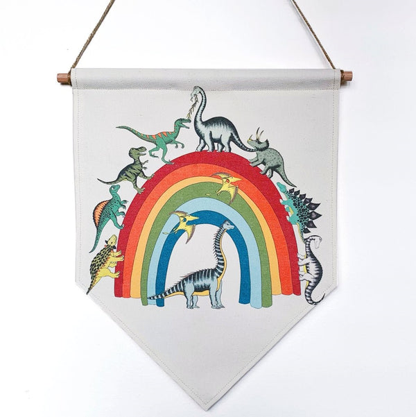 Dinosaur Banner 'Rainbowsaurus', by Dino Raw.  . Australian Art Prints. Green Door Decor. www.greendoordecor.com.au